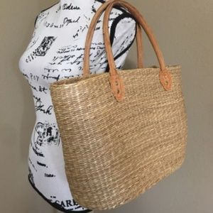 Leather Straps Woven Jute Straw Basket Boho Bag